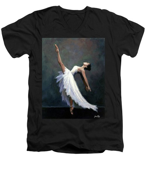 Men's V-Neck T-Shirt featuring the painting Beautiful Dancer by Janet King