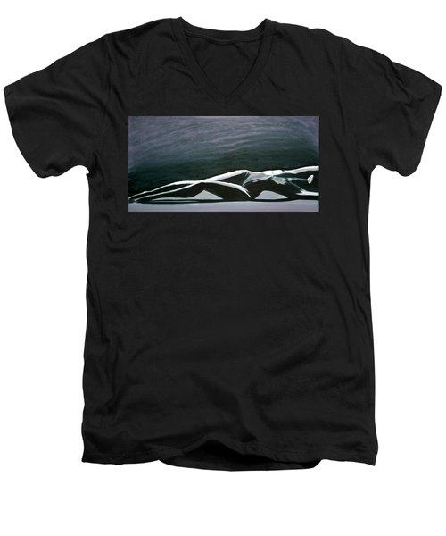 Men's V-Neck T-Shirt featuring the painting Beautiful Diver by Jarmo Korhonen aka Jarko