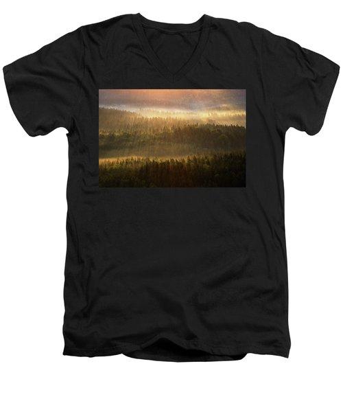 Beautiful Foggy Forest During Autumn Sunrise, Saxon Switzerland, Germany Men's V-Neck T-Shirt