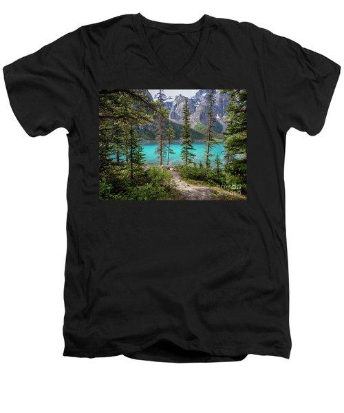 Beautiful Lake Moraine Men's V-Neck T-Shirt by Patricia Hofmeester