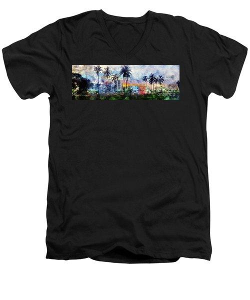 Beautiful South Beach Watercolor Men's V-Neck T-Shirt by Jon Neidert