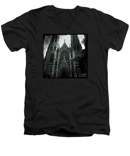 Beautiful St Patricks Cathedral Men's V-Neck T-Shirt by Miriam Danar