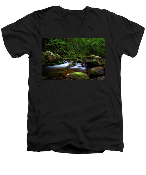 Beautiful Stream In Tremont Smoky Mountains Tennessee Men's V-Neck T-Shirt