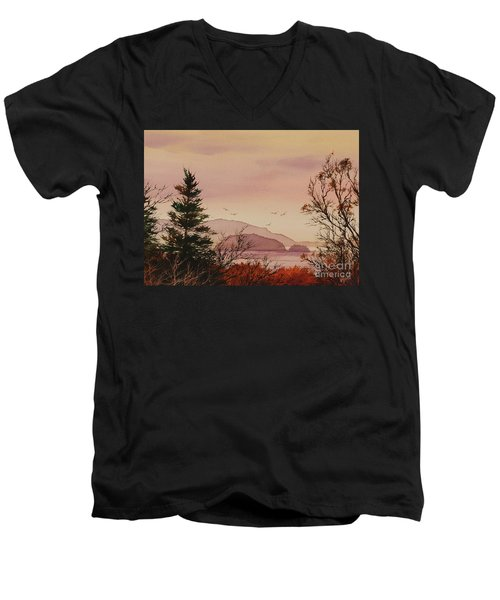 Men's V-Neck T-Shirt featuring the painting Beauty At The Shore by James Williamson