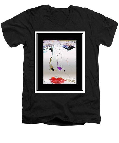 Men's V-Neck T-Shirt featuring the digital art Beauty Mark - Silver by Larry Talley