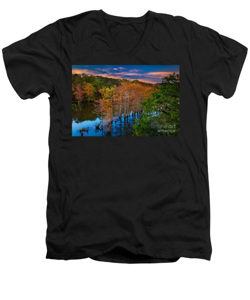 Beavers Bend Twilight Men's V-Neck T-Shirt