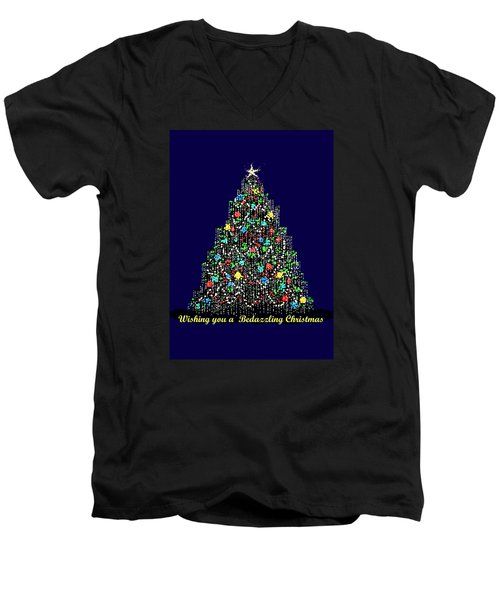 Men's V-Neck T-Shirt featuring the digital art Bedazzled Christmas Card by R  Allen Swezey