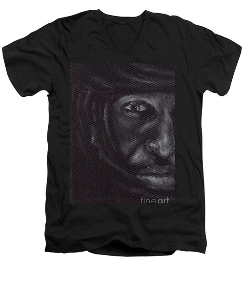 Men's V-Neck T-Shirt featuring the painting Bedouin by Annemeet Hasidi- van der Leij