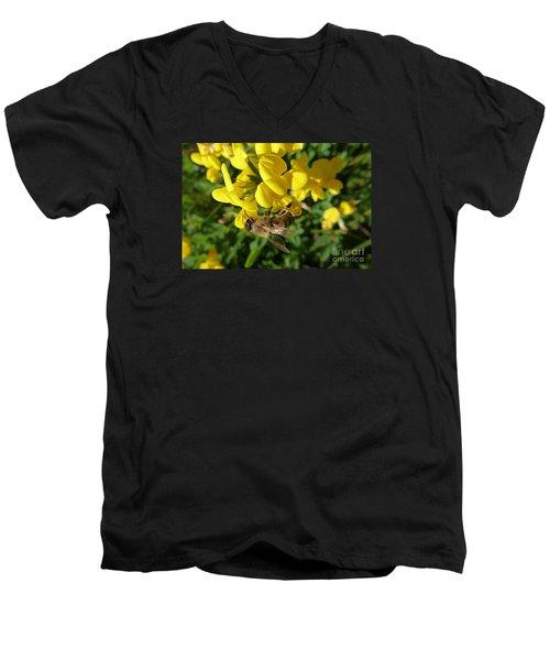 Bee And Broom In Bloom Men's V-Neck T-Shirt
