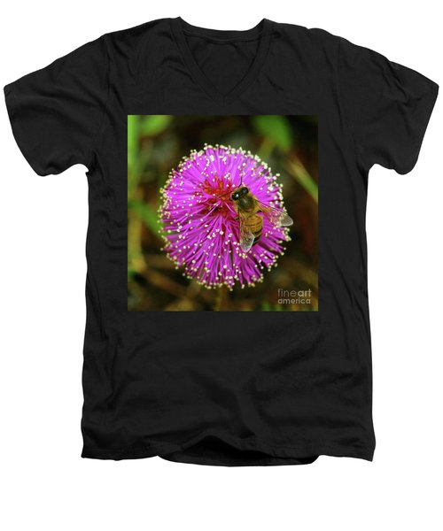 Bee On Puff Ball Men's V-Neck T-Shirt by Larry Nieland