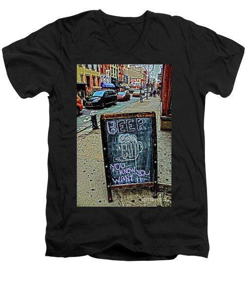Beer Sign Men's V-Neck T-Shirt by Sandy Moulder
