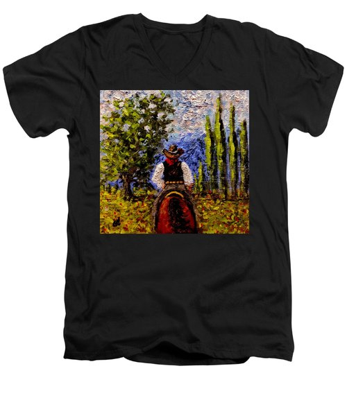 Men's V-Neck T-Shirt featuring the painting Before The Sun Goes Down.. by Cristina Mihailescu
