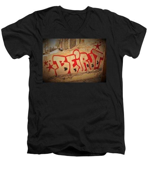Beirut On A Graffiti Wall Men's V-Neck T-Shirt by Funkpix Photo Hunter