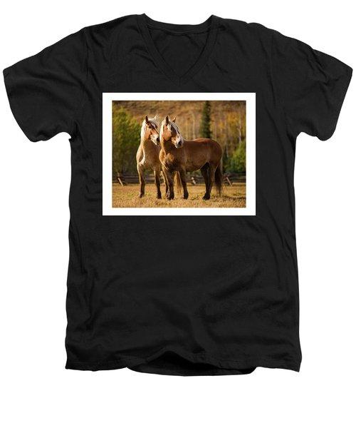 Belgian Draft Horses Men's V-Neck T-Shirt by Sharon Jones