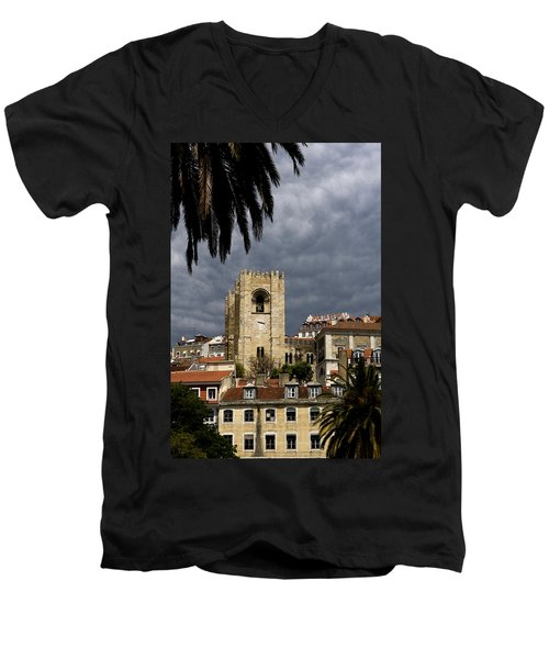 Men's V-Neck T-Shirt featuring the photograph Bell Tower Against Roiling Sky by Lorraine Devon Wilke