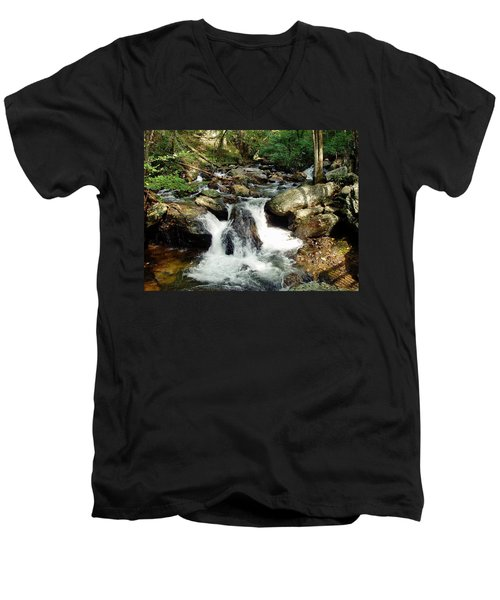 Below Anna Ruby Falls Men's V-Neck T-Shirt by Jerry Battle