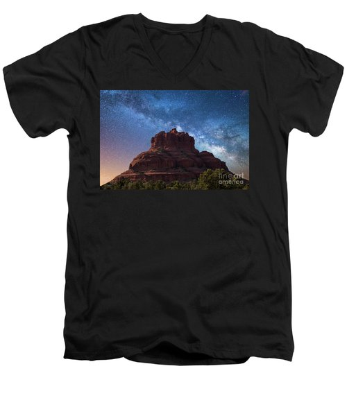 Below The Milky Way At Bell Rock Men's V-Neck T-Shirt