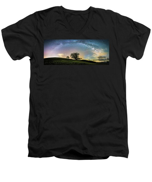 Below The Milky Way At The Blue Ridge Mountains Men's V-Neck T-Shirt