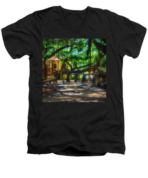 Beneath The Banyan Tree Men's V-Neck T-Shirt by DJ Florek