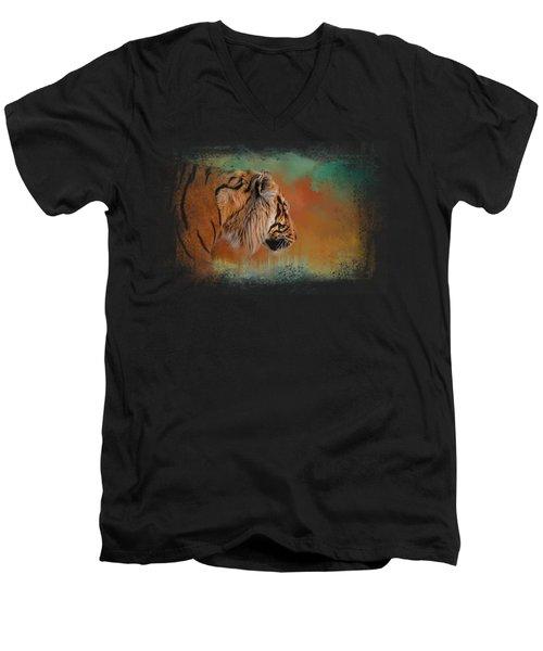 Bengal Energy Men's V-Neck T-Shirt by Jai Johnson