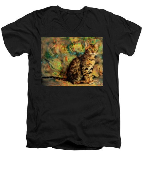Bengal Kitten Men's V-Neck T-Shirt by John Robert Beck