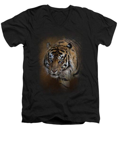 Bengal Stare Men's V-Neck T-Shirt by Jai Johnson