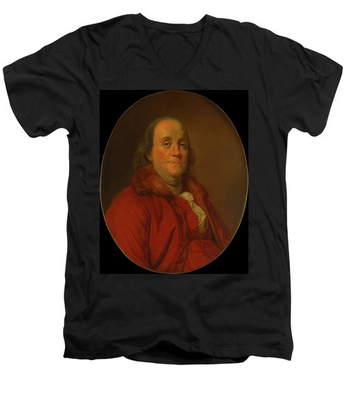 Men's V-Neck T-Shirt featuring the painting Benjamin Franklin by Workshop Of Joseph Duplessis