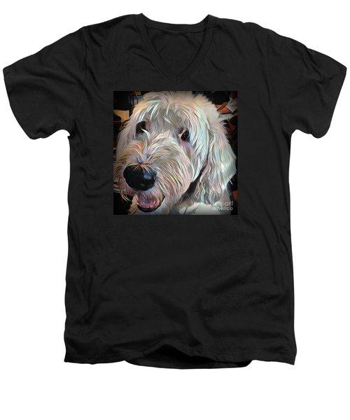 Bentley Men's V-Neck T-Shirt by Jodie Marie Anne Richardson Traugott          aka jm-ART