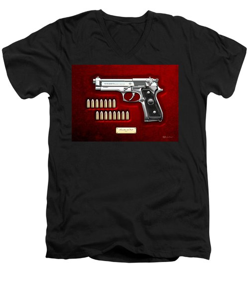 Beretta 92fs Inox Over Red Velvet Men's V-Neck T-Shirt