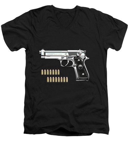Beretta 92fs Inox With Ammo On Black Velvet  Men's V-Neck T-Shirt