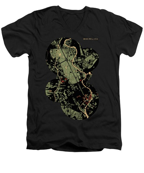 Berlin Engraving Map Men's V-Neck T-Shirt by Jasone Ayerbe- Javier R Recco
