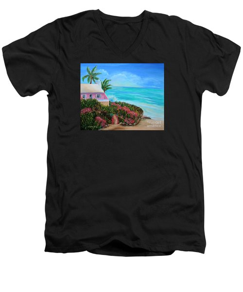 Men's V-Neck T-Shirt featuring the painting Bermuda Bliss by Shelia Kempf