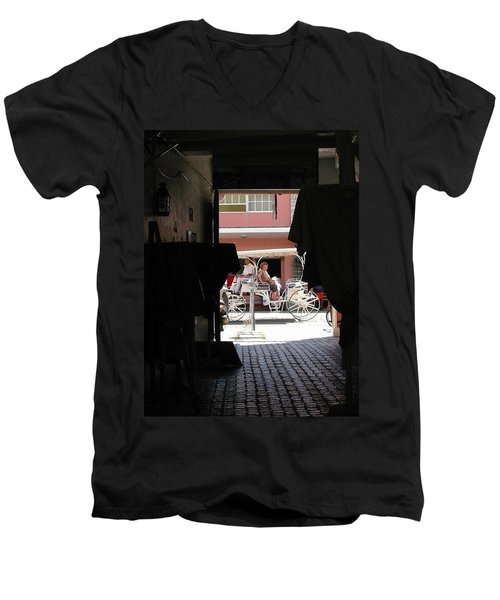 Men's V-Neck T-Shirt featuring the photograph Bermuda Carriage by Ian  MacDonald