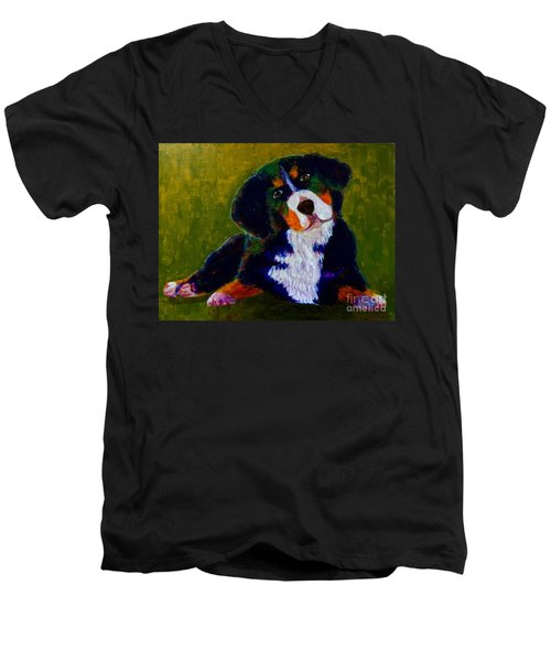 Men's V-Neck T-Shirt featuring the painting Bernese Mtn Dog Puppy by Donald J Ryker III