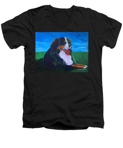 Men's V-Neck T-Shirt featuring the painting Bernese Mtn Dog Resting On The Grass by Donald J Ryker III