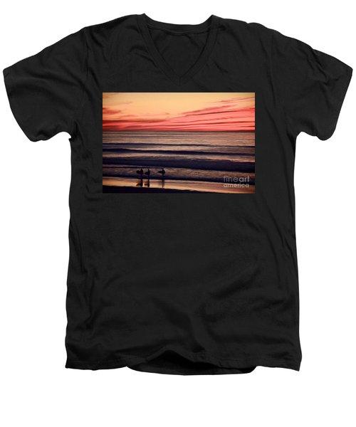 Beside Still Waters - Digital Paint Effect Men's V-Neck T-Shirt by Sharon Soberon