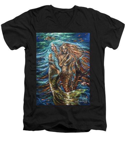 Best Friends Men's V-Neck T-Shirt by Linda Olsen