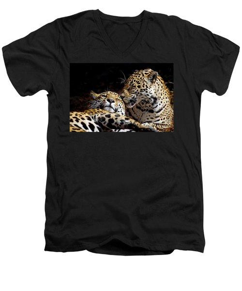 Best Friends Men's V-Neck T-Shirt by Liz Masoner