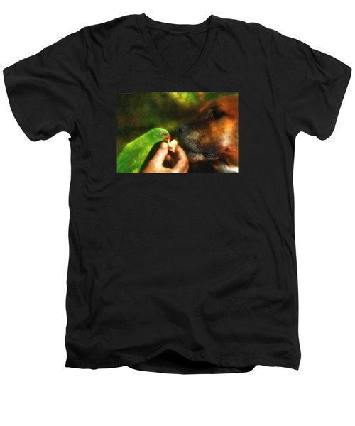 Men's V-Neck T-Shirt featuring the photograph Best Mates For Ever 001 by Kevin Chippindall