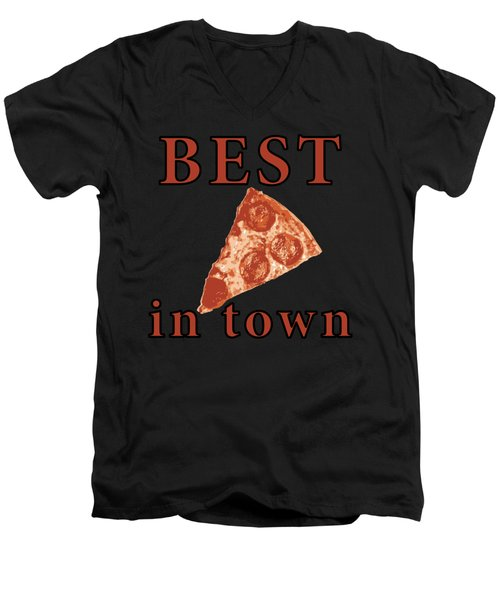 Men's V-Neck T-Shirt featuring the digital art Best Pizza In Town by Jennifer Hotai