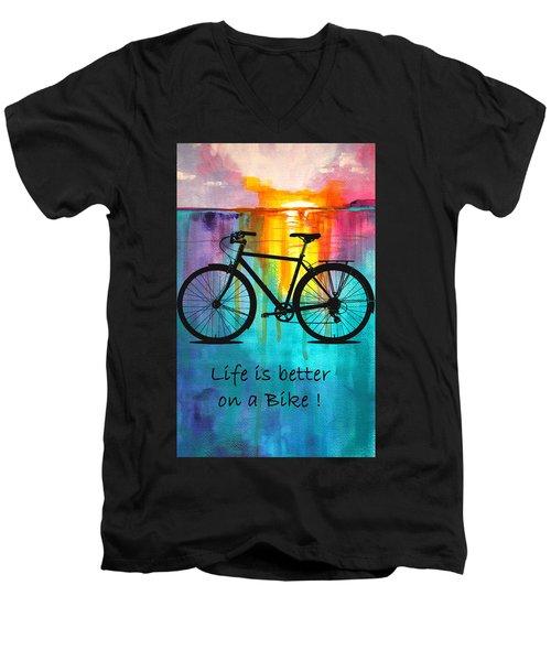 Better On A Bike Men's V-Neck T-Shirt