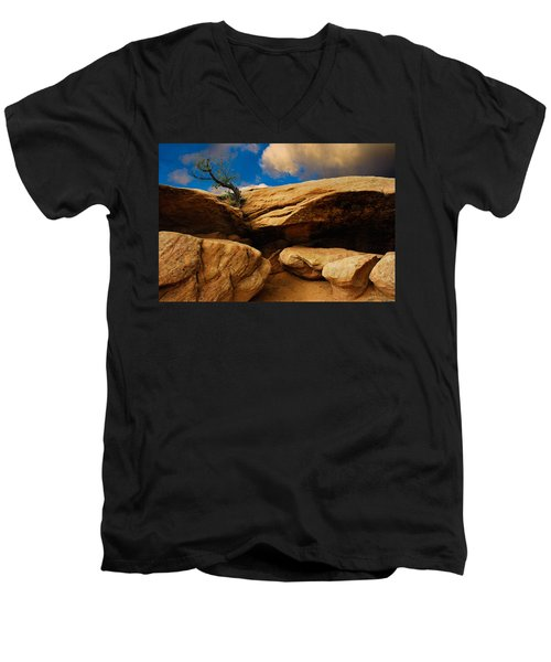 Men's V-Neck T-Shirt featuring the photograph Between A Rock And A Hard Place by Harry Spitz