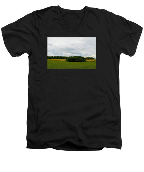 Men's V-Neck T-Shirt featuring the photograph Between The Fields by Lyle Crump