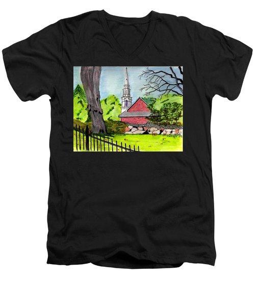 Beverly First Baptist Church Men's V-Neck T-Shirt by Paul Meinerth