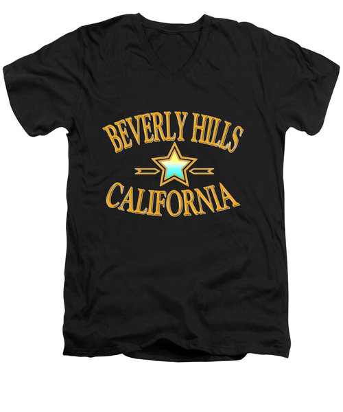 Beverly Hills California Star Design Men's V-Neck T-Shirt