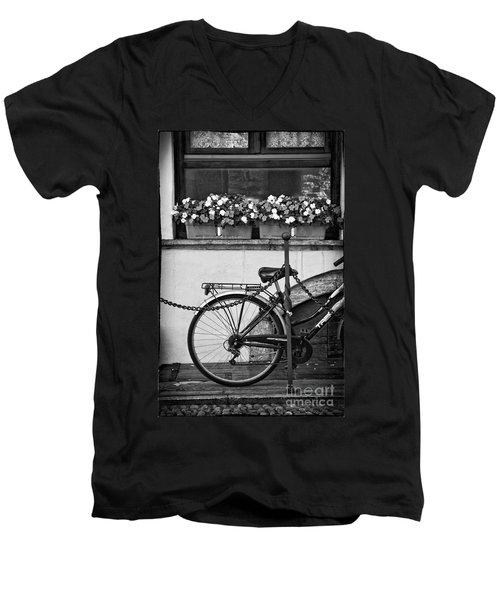 Bicycle With Flowers Men's V-Neck T-Shirt by Silvia Ganora