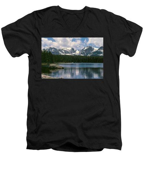 Bierstadt Lake Hallett And Otis Peaks Rocky  Mountain National Park Men's V-Neck T-Shirt