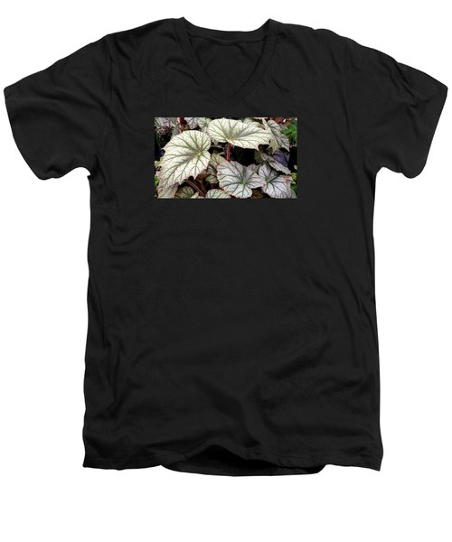 Big Begonia Leaves Men's V-Neck T-Shirt by Nareeta Martin