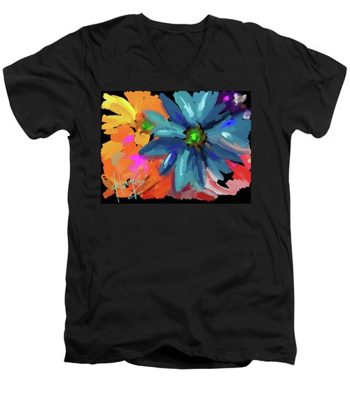 Men's V-Neck T-Shirt featuring the painting Big Blue Flower by DC Langer