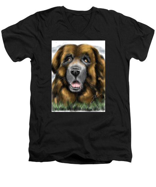 Big Dog Men's V-Neck T-Shirt by Darren Cannell